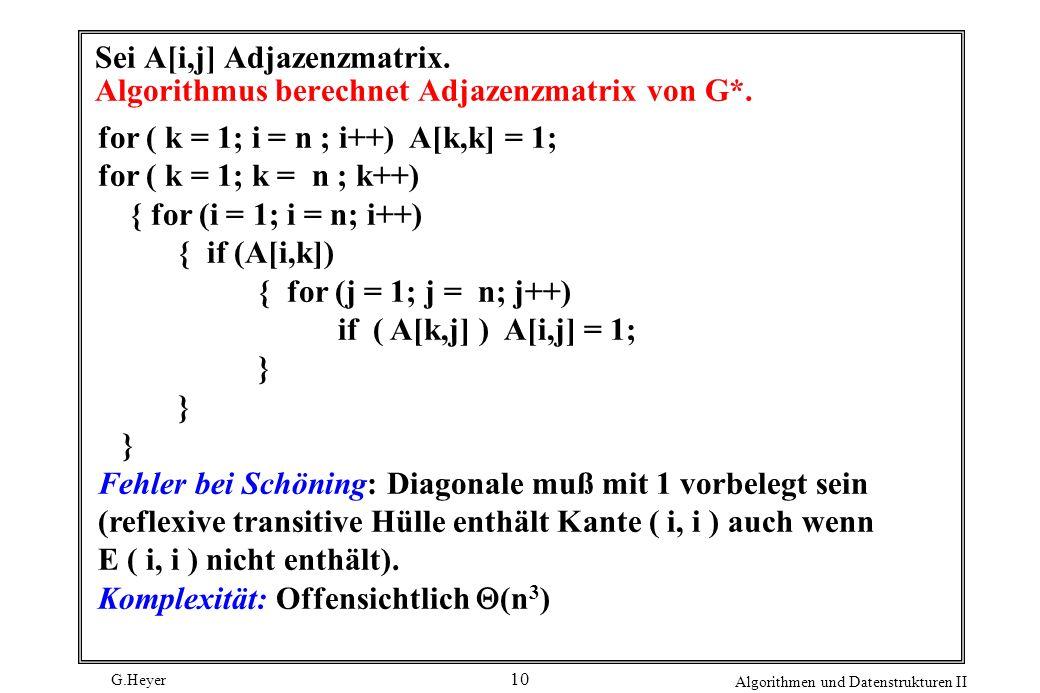 Sei A[i,j] Adjazenzmatrix. Algorithmus berechnet Adjazenzmatrix von G*.